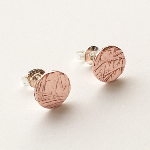 Copper textured studs by LMJewellery