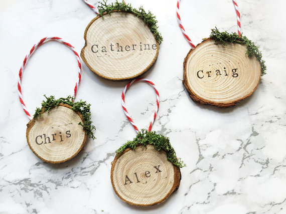 These real wood tags are individually stamped – perfect for christmas wrapping or tree decorations! By  Rachel Emma Studio