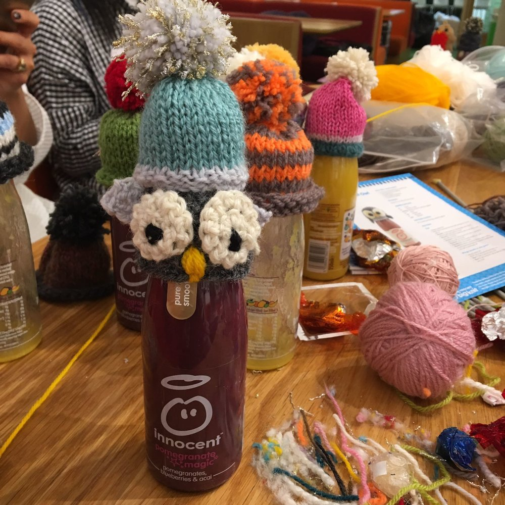 Team collaboration, owl crocheted by team leader Rachel, hat knitted by team captain Melodie and pom pom by team member Charlotte. Photo by  Rachel Waring .