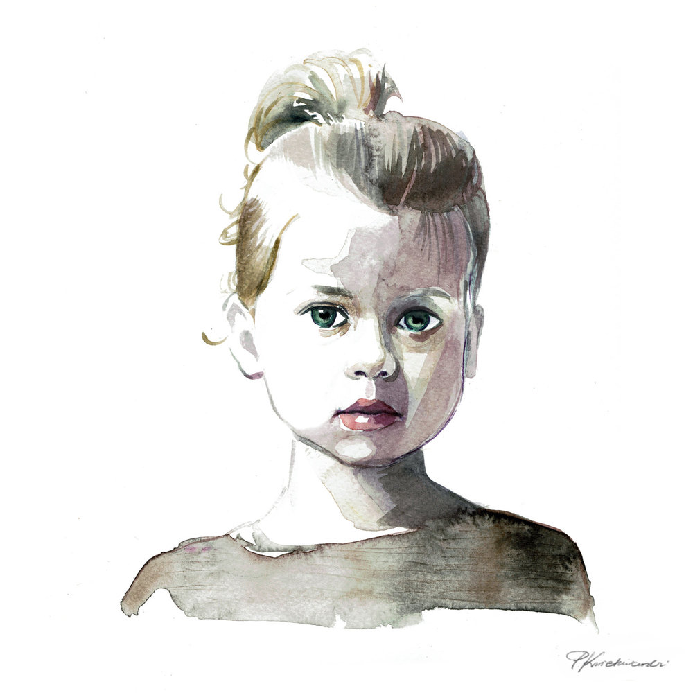 Watercolour child portrait