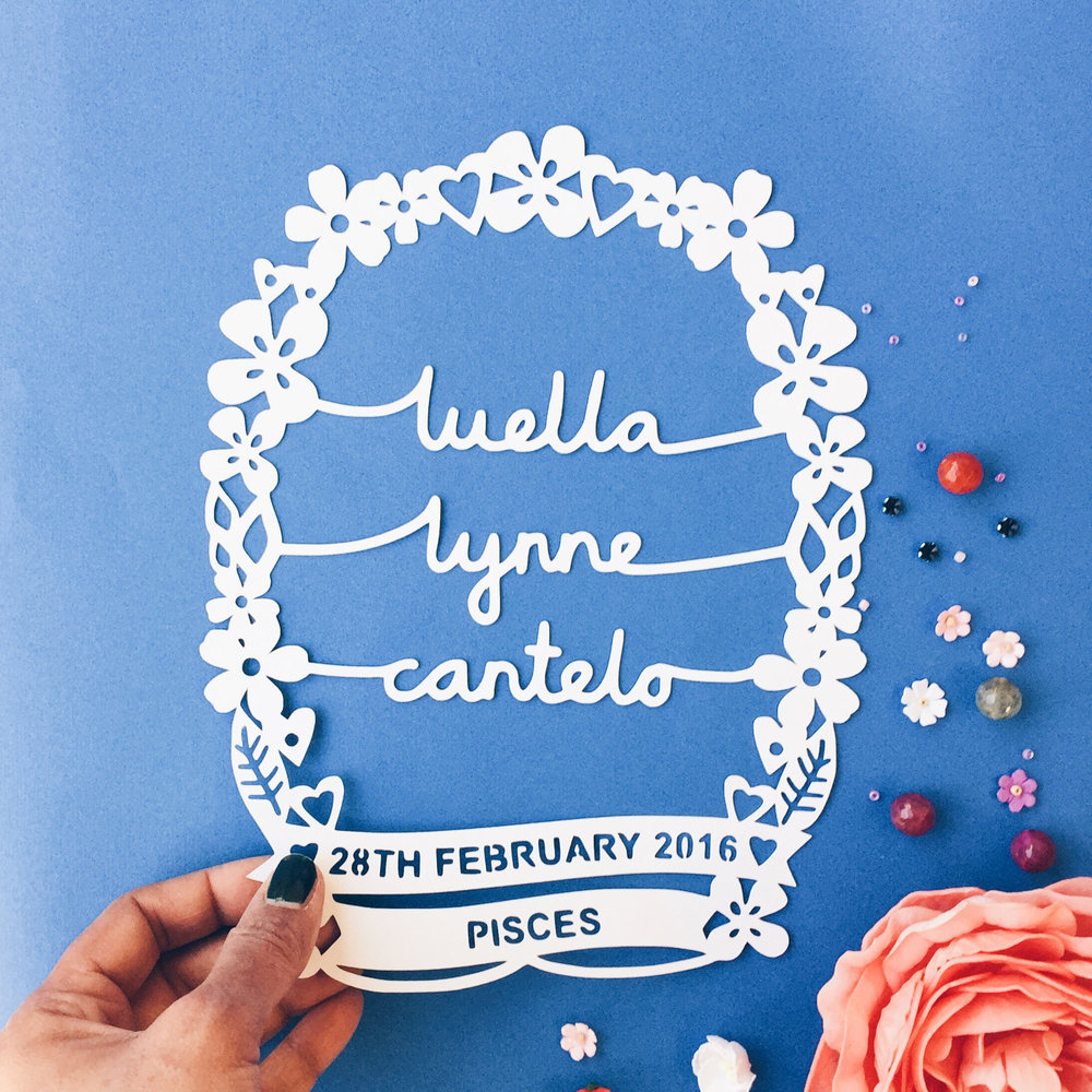 Personalised baby paper cut