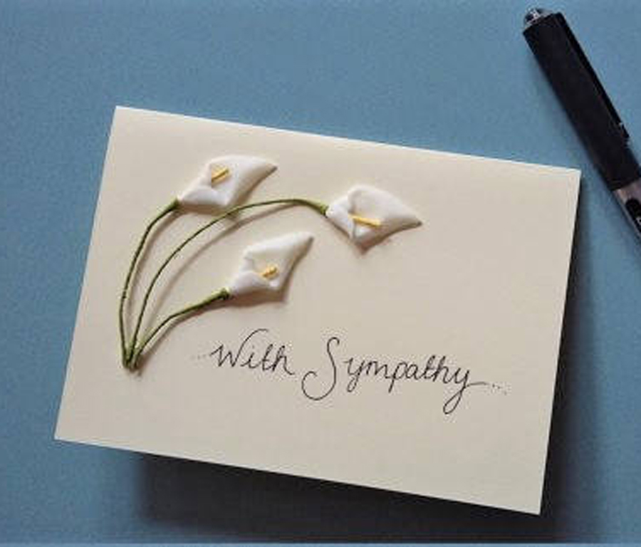 Our best selling card, calla lilies for sympathy.