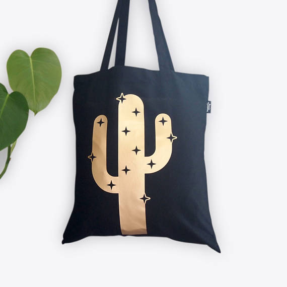 Suzie's gold and black cactus tote. By Suzie London.