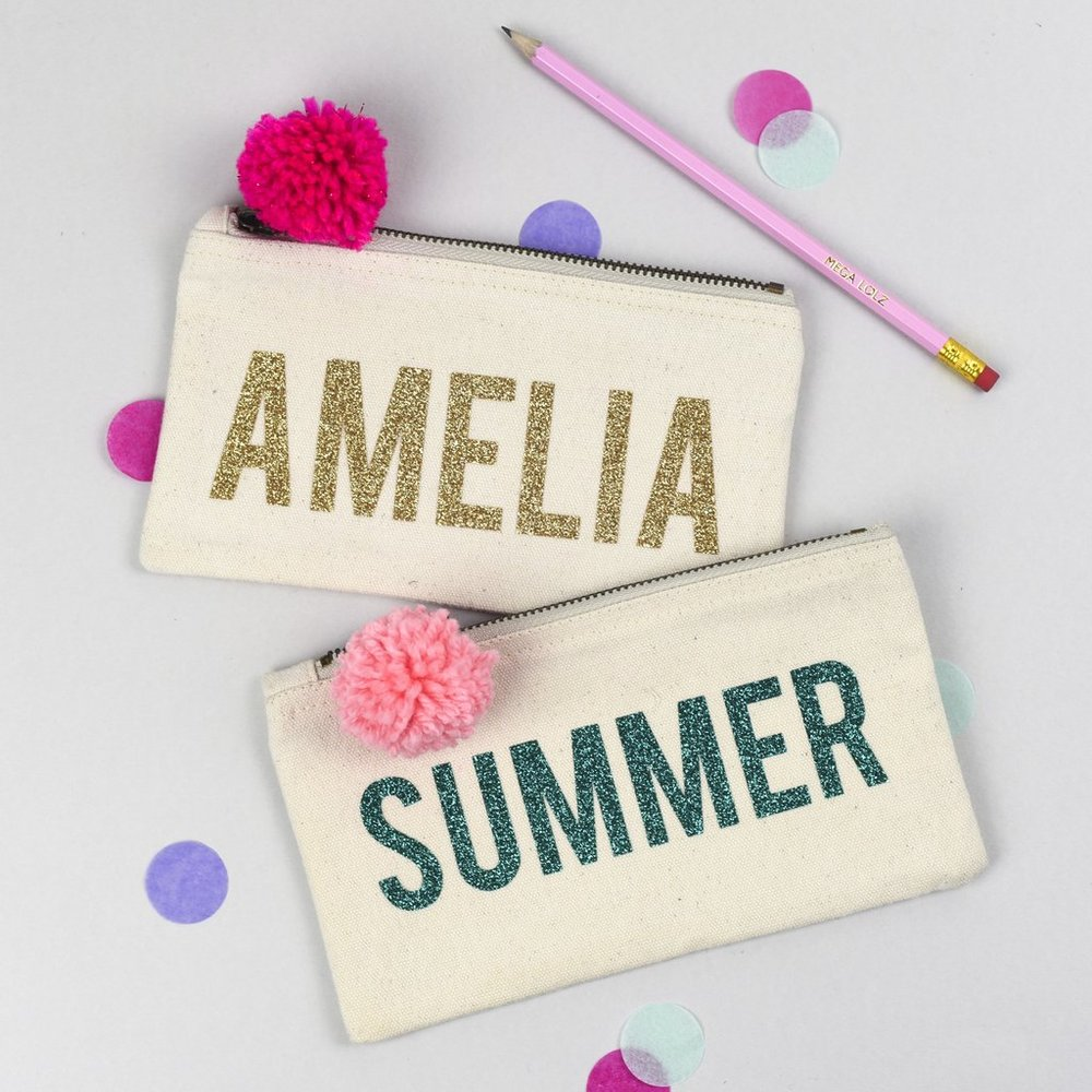 Personalised glitter pencil cases