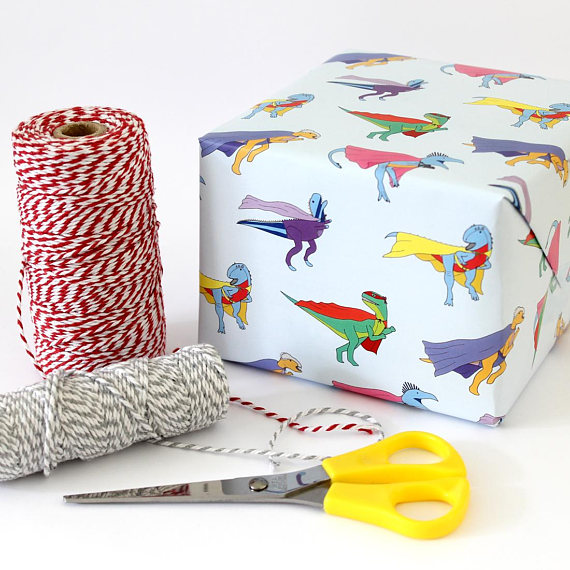 Dino Superhero wrapping paper by  Charlotte Filshie
