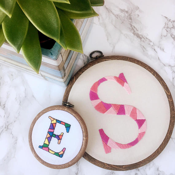 Embroidered initial hoop by  Cafinated Crafter
