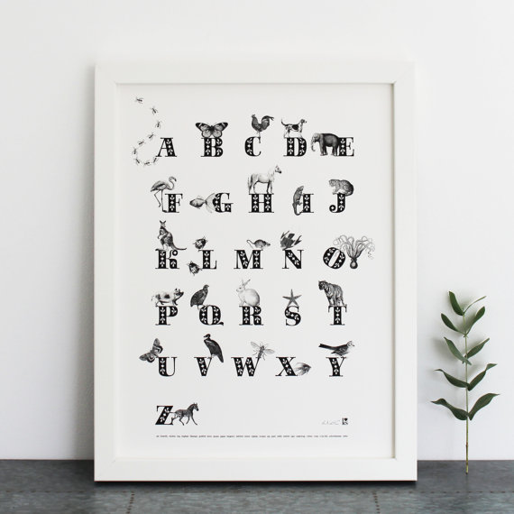 Animal Alphabet Print by  Ros Shiers