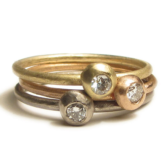 18K gold stacking rings with diamonds
