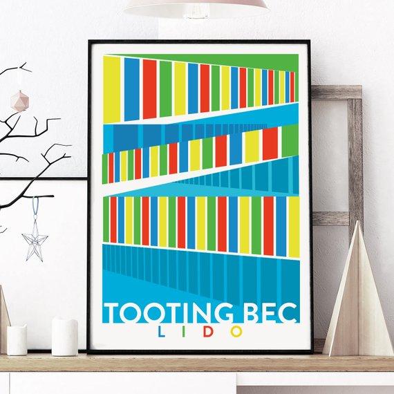 Tooting Bec Lido Illustrated Art Prin