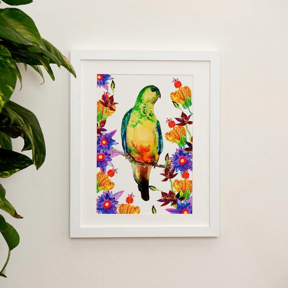 Tropical Parrot Illustration Print