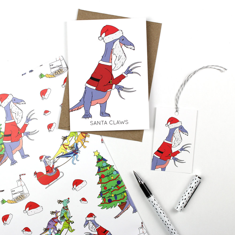 Christmas cards, wrapping paper and gift tags