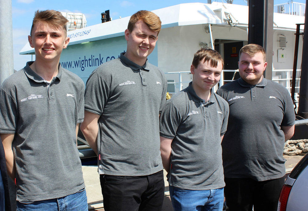 Wight Shipyard apprentices at Ryde Pier.jpg