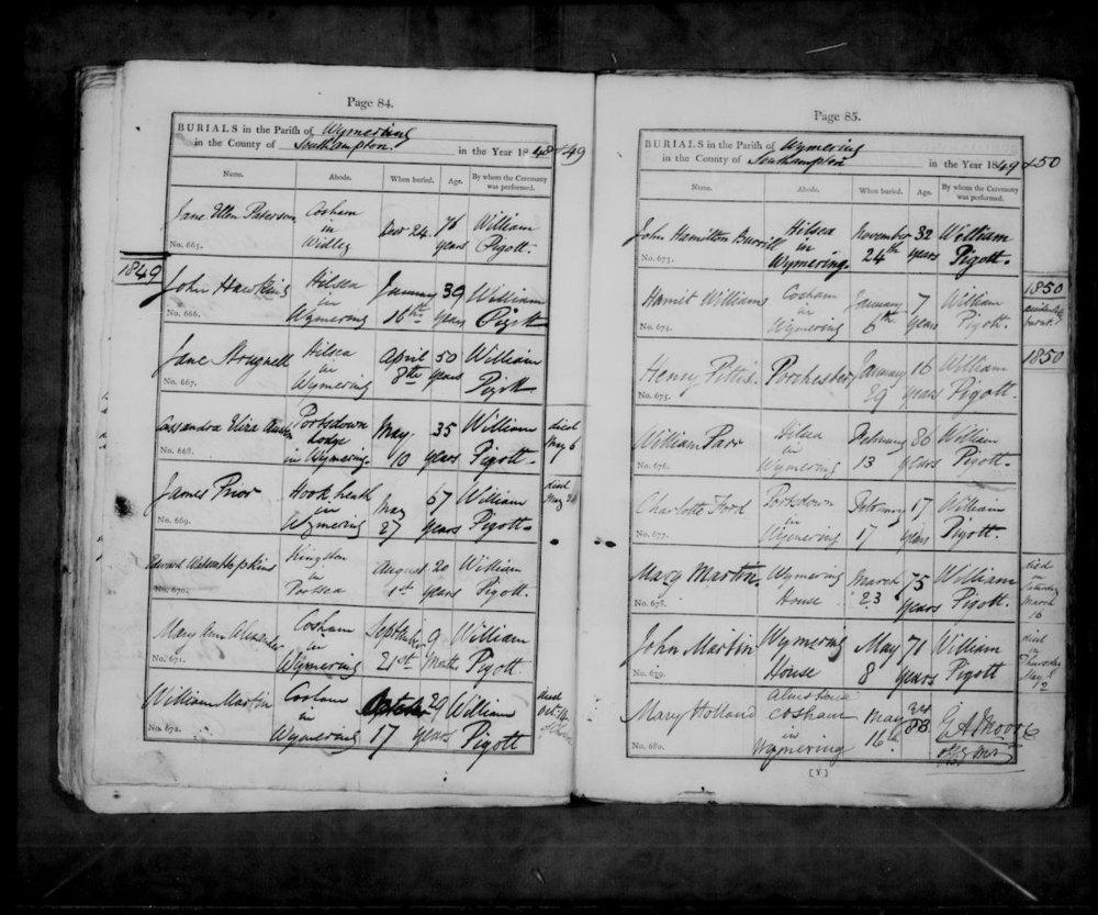 Cassandra Austen's ( niece of the famous author Jane Austen)  burial records.