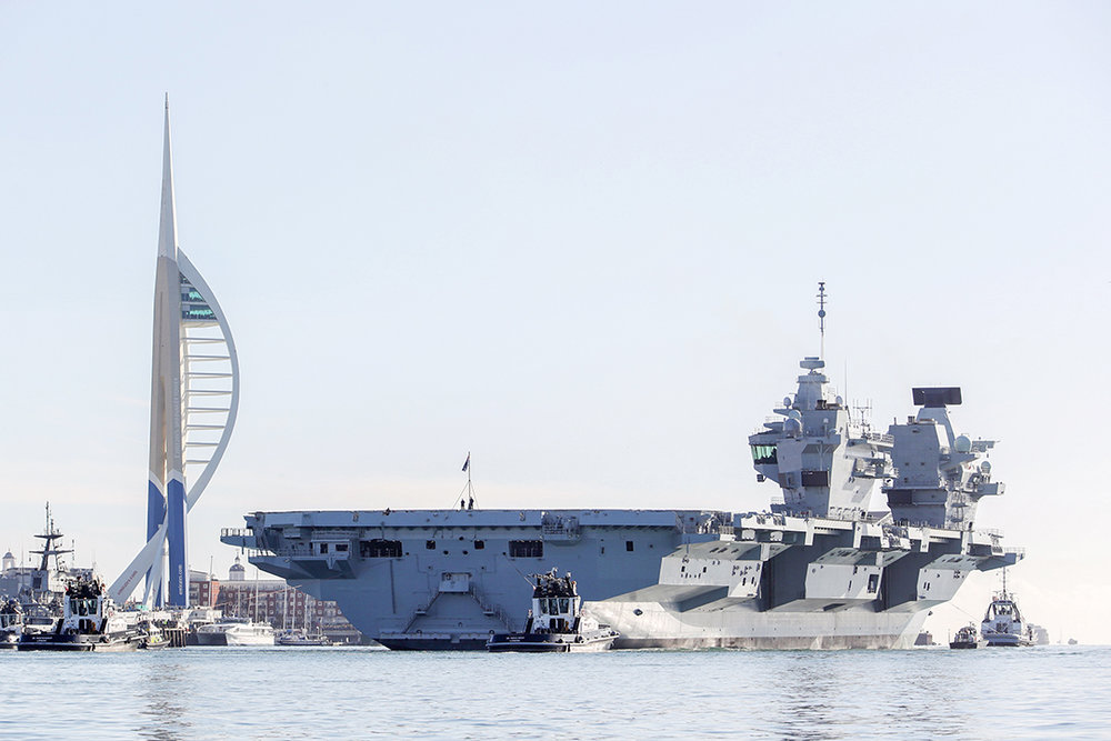 HMS Queen Elizabeth leaves Portsmouth for sea trials