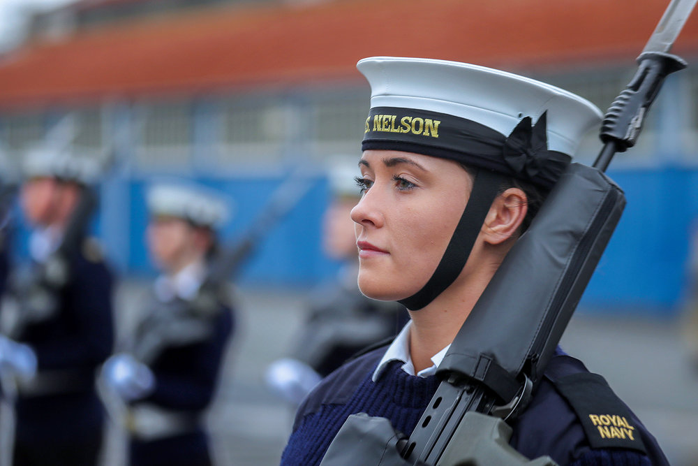 Able Seaman Laura Suttle, at rehearsals for Change of the Guard at HMS Excellent