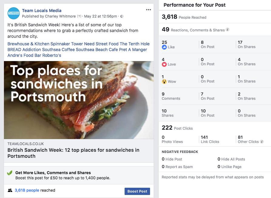 Increasing your business Facebook reach example