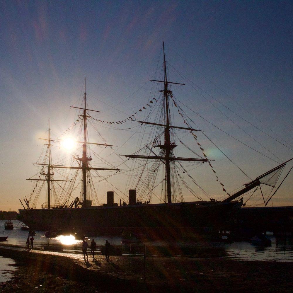 HMS Warrior at sunset