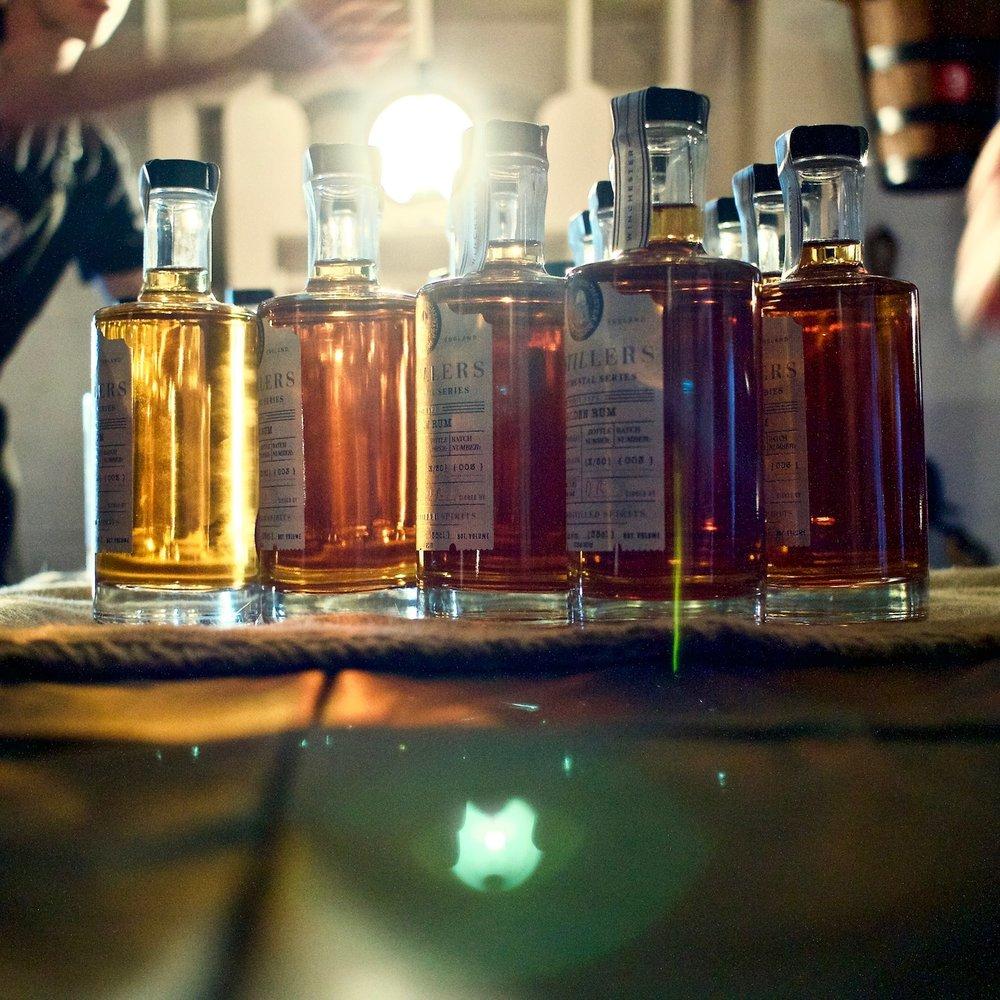 Rum & Gin bottles. Historic Dockyard Rum & Gin Festival