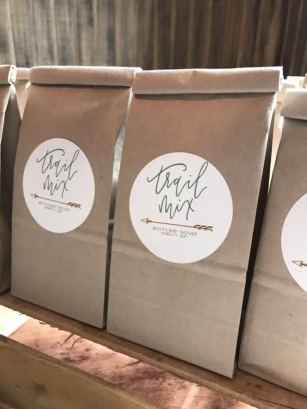Trail mix favor bags for the road! - Using Avery Labels, I hand-lettered the design to create a look reminiscient of the invitation.