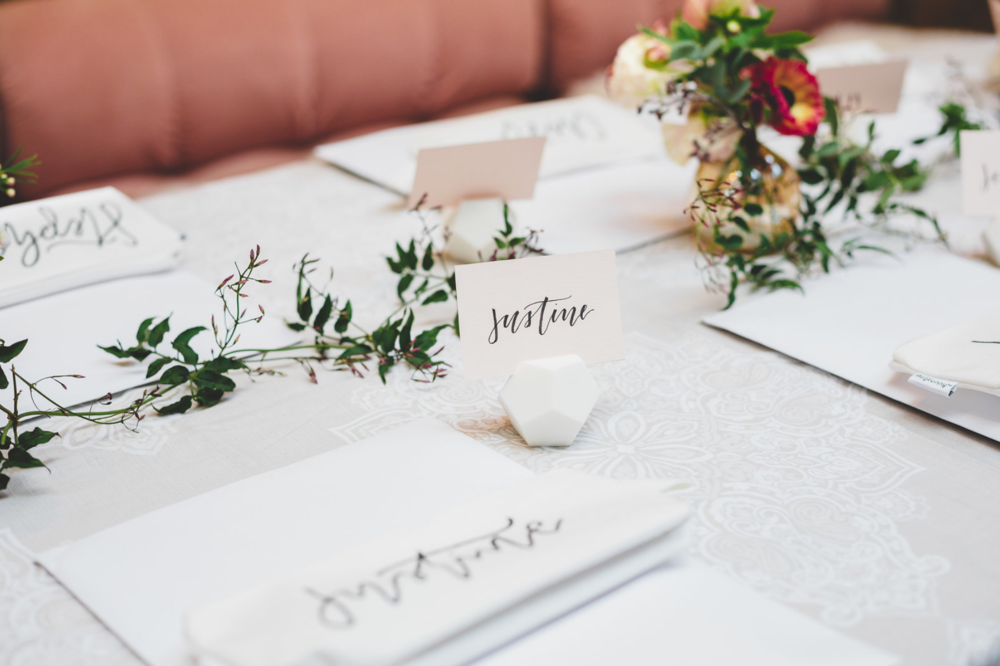 Esselle's  2nd Quality Dodecahedron Place Card Holder  used at my  Lovely Bride Calligraphy Workshop  Photography:  Cassie Castellaw