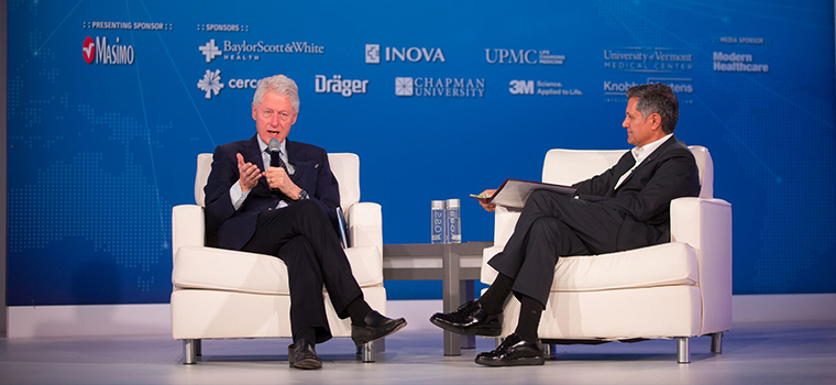 Bill Clinton and Joe Kiani at the PSMF Summit 2017