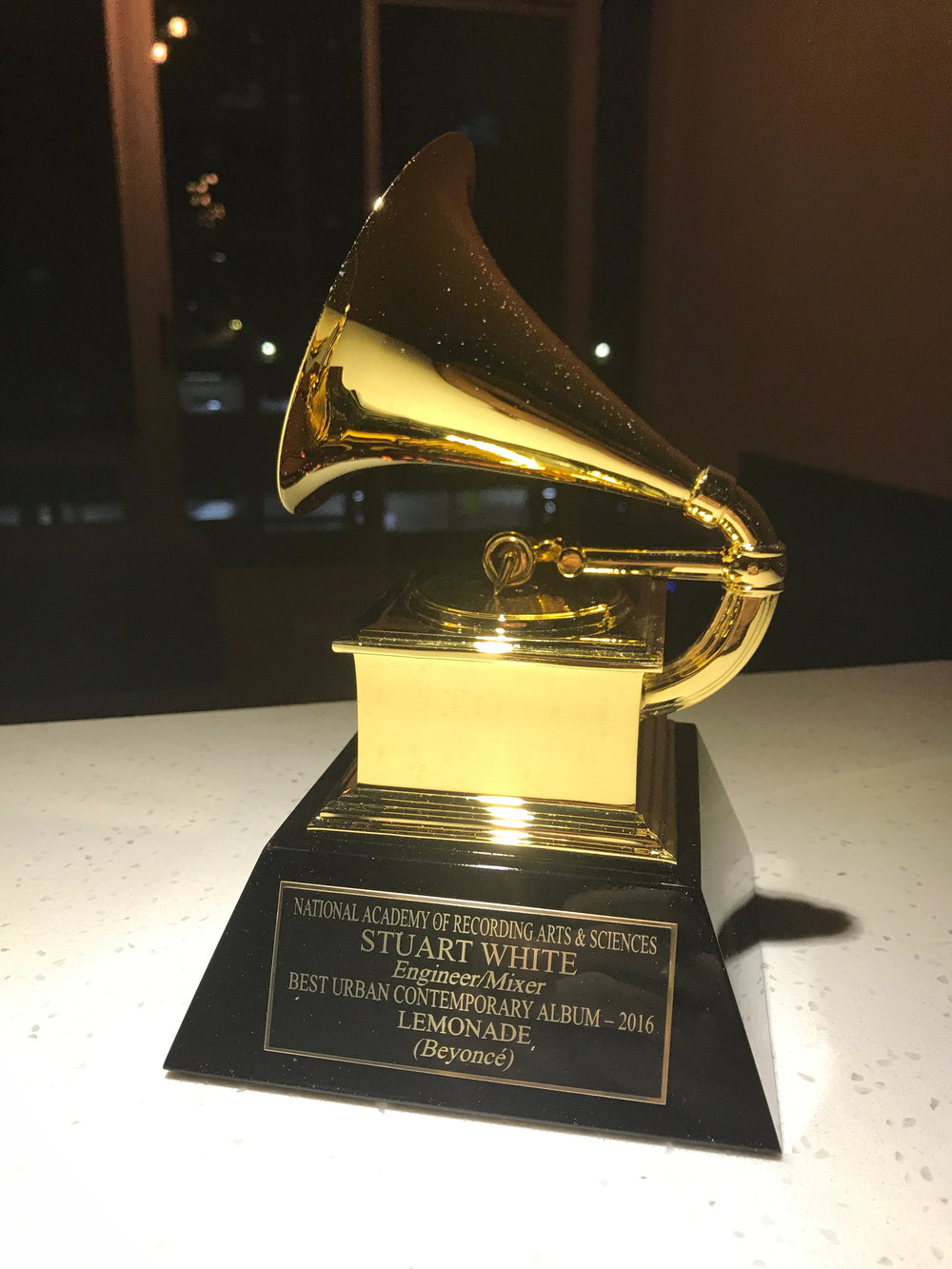 Stuart winning a grammy - for Best Urban Contemporary Art Albumfor his work as an Engineer/Mixer on Lemonade in 2016