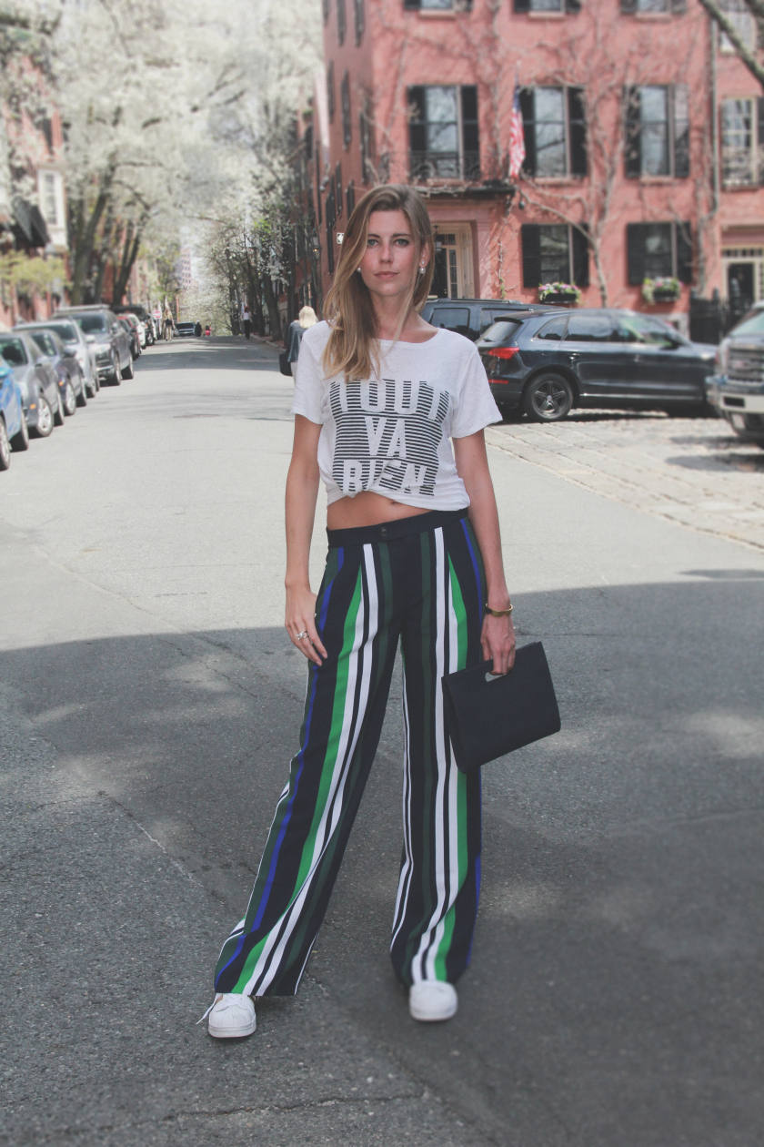 striped trousers and a tshirt