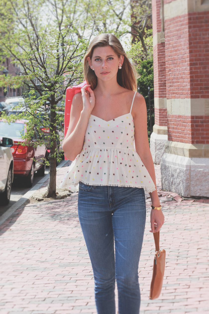 polka dot peplum tank top