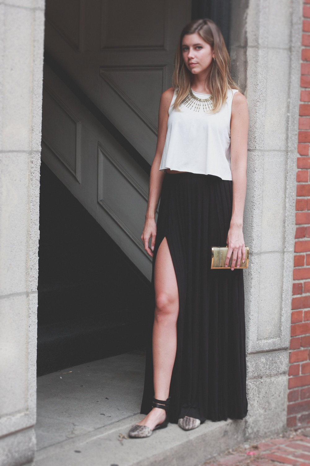 Crop tank top maxi skirt
