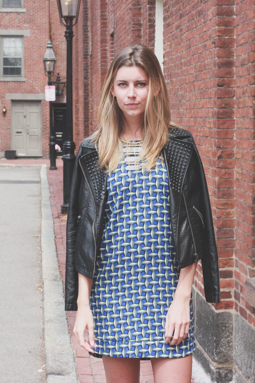 patterned dress leather jacket
