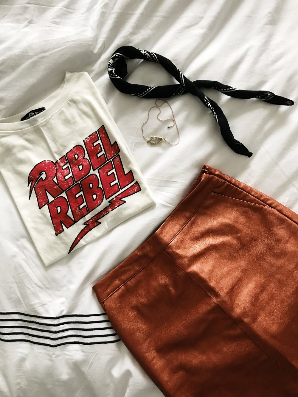 Rebel Rebel T Shirt   |   Metallic Skirt  (on sale $39.90)  |  Necklace | Red Dog Beads  |  Bandana