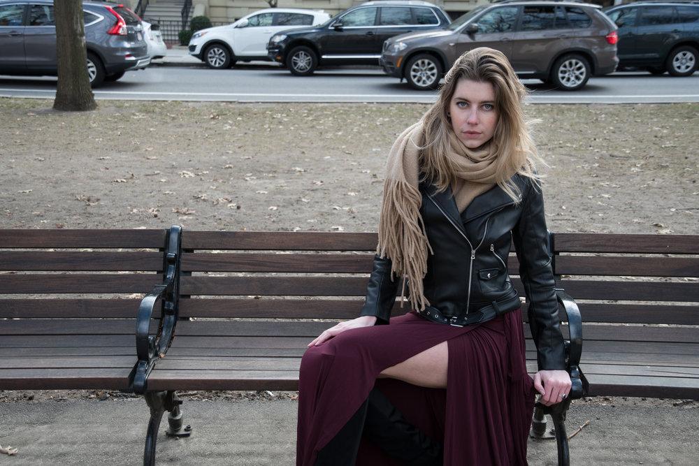 Maxi dress winter street style