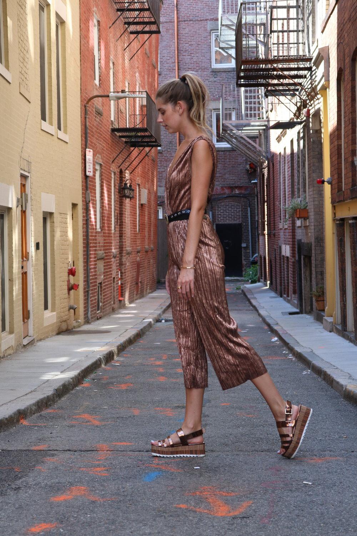 metallic street style look