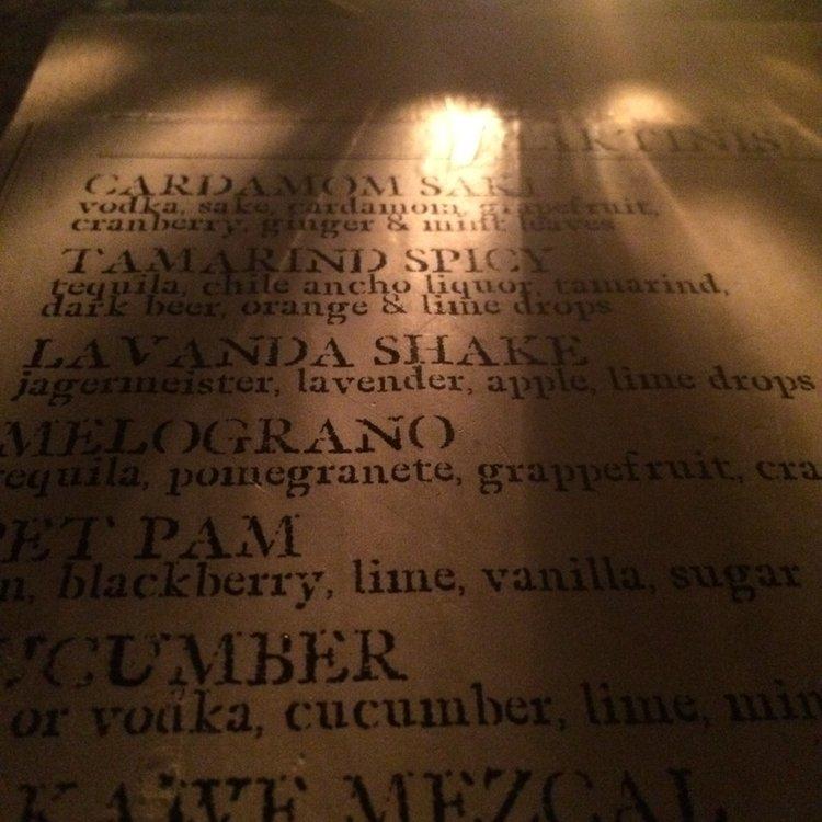 Posada Margherita menu