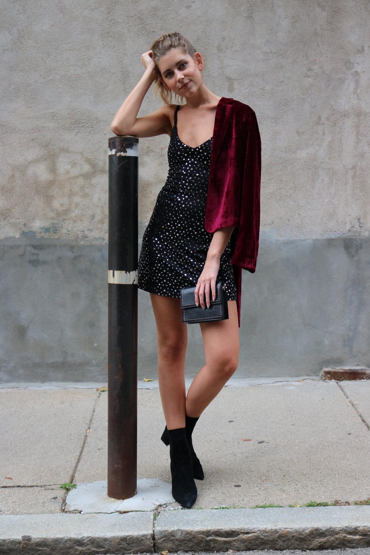 Metallic Star Dress Velvet Blazer