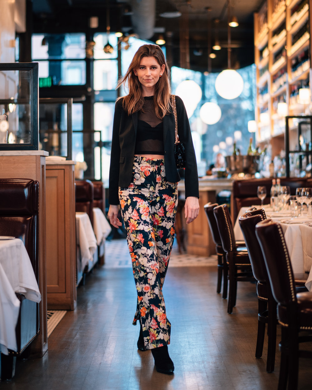 Valentines Day dinner outfit floral pants