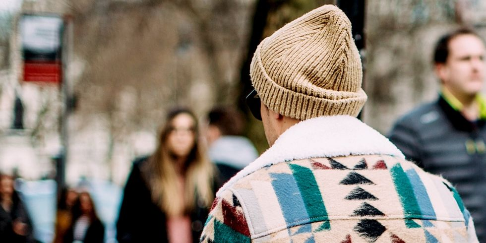 beanie street style. image from   Esquire  .