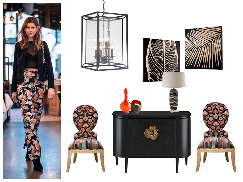 FashionMeetsInterior-amy_friel-model and maker-florals-prints-black-color-chair-chest-lantern-entry-design-art-lamp-accessories.jpg