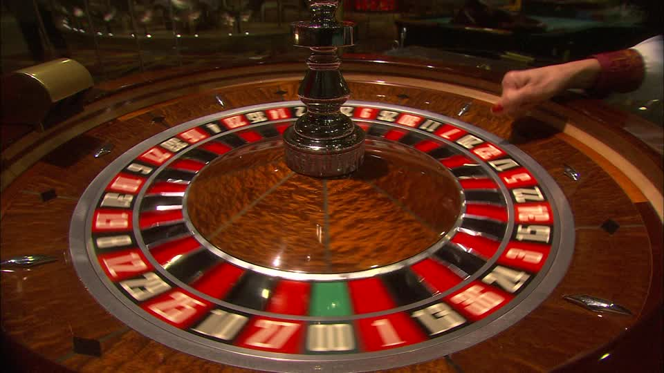 Roulette wheel in action.