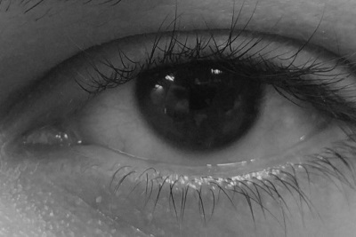 A dark iris photographed in gray scale doesn't really help.