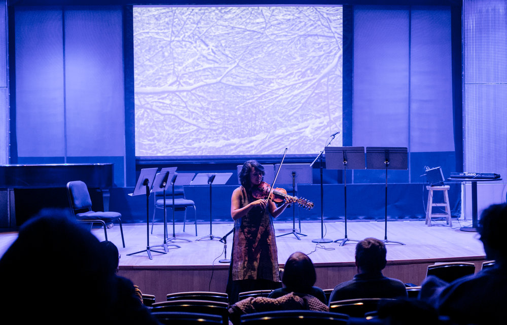 NYPL Lincoln Center, Dec 2017. Premiere of  january cold , a new composition for voice and hardanger fiddle.