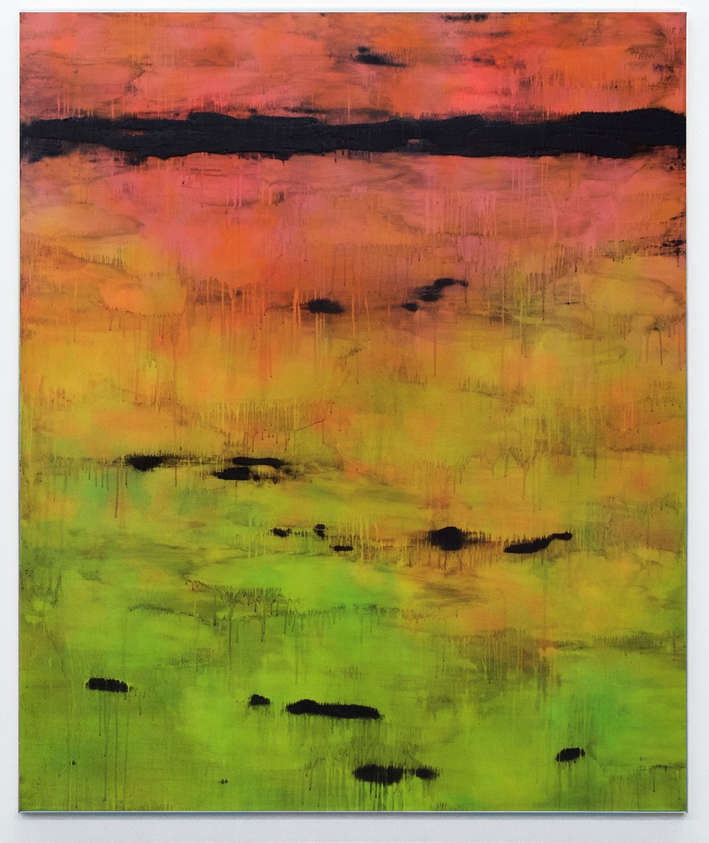 Kasper Sonne    BAD43  Spray paint, volcanic ash exfoliator and water on linen, in artists aluminum frame 72 x 60 x 2 in(182.9 x 152.4 x 5.1 cm)