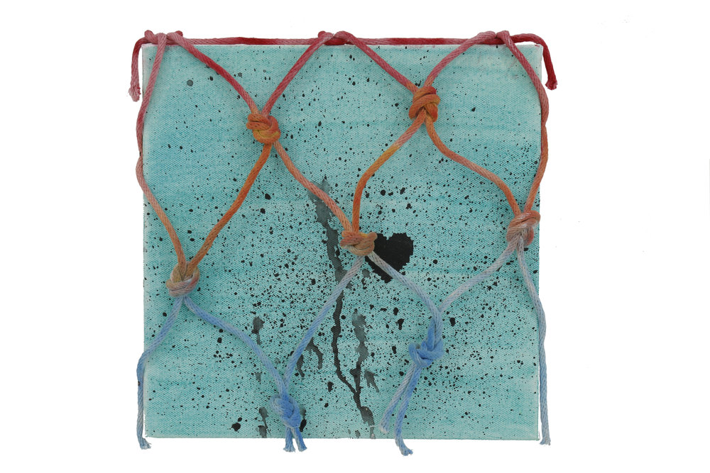 Wendy White    Provincetown (Blue Heart)   Acrylic on canvas, rope, Provincetown sea water  10 x 10 in (25.4 x 25.4 cm)