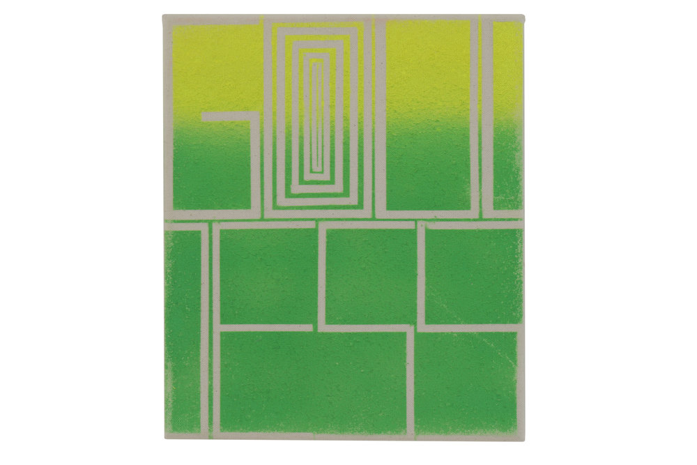 John Phillip Abbott    Yellow Green Goddess   Spray paint on canvas  12 x 10 in (30.5 x 25.4 cm)