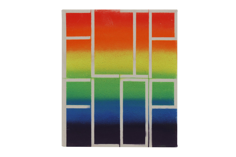 John Phillip Abbott    Flip Flop    Spray paint on canvas  12 x 10 in (30.5 x 25.4 cm)