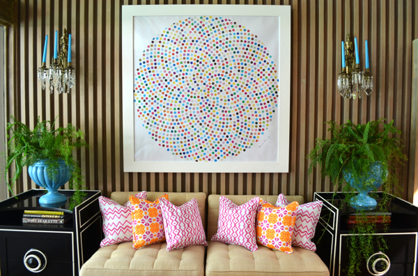 www.mimosalaneblogspot.com, pillows, pink rhombus, pink chevron, pink and orange tile, damien hirst print