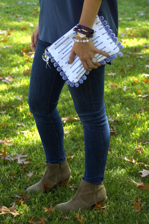 www.mimosalaneblogspot.com, pouches, grey rain, swarovski bracelet, madewell booties