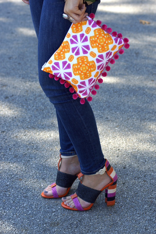 www.mimosalaneblogspot.com, pouches, pink and orange tile, zara sandals