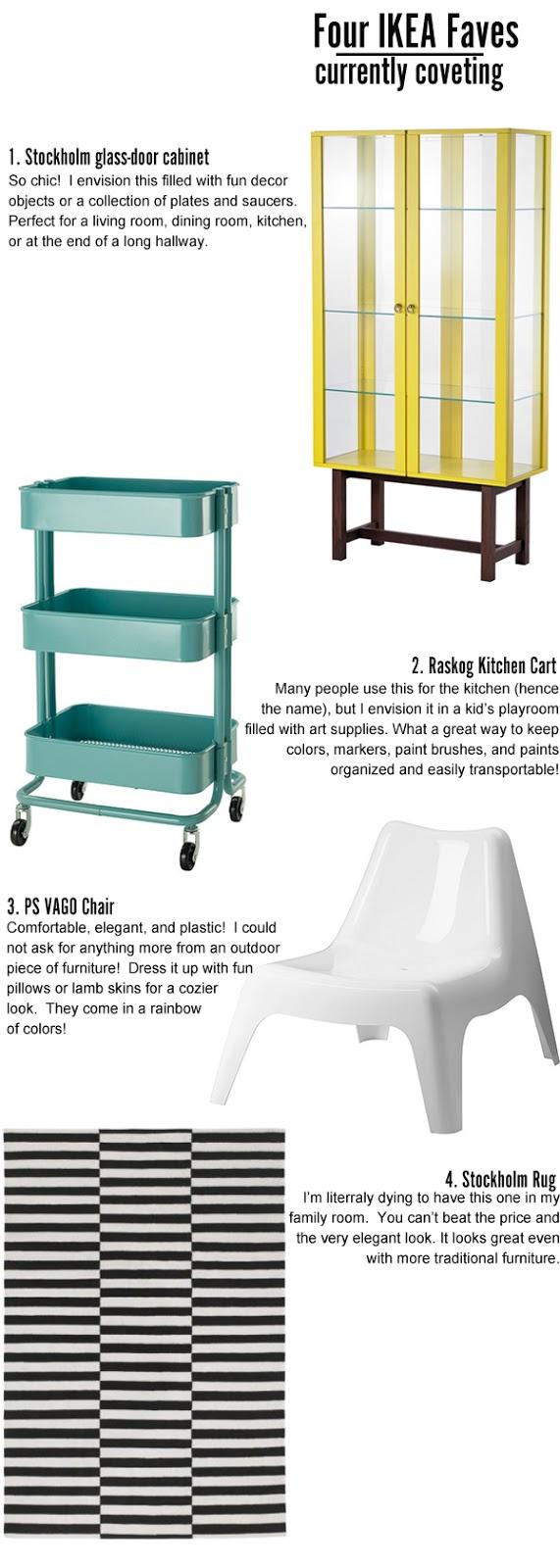 Ikea Stockholm glass door cabinet, Ikea Rascog cart, Ikea PS Vago chair, Ikea Stockholm rug