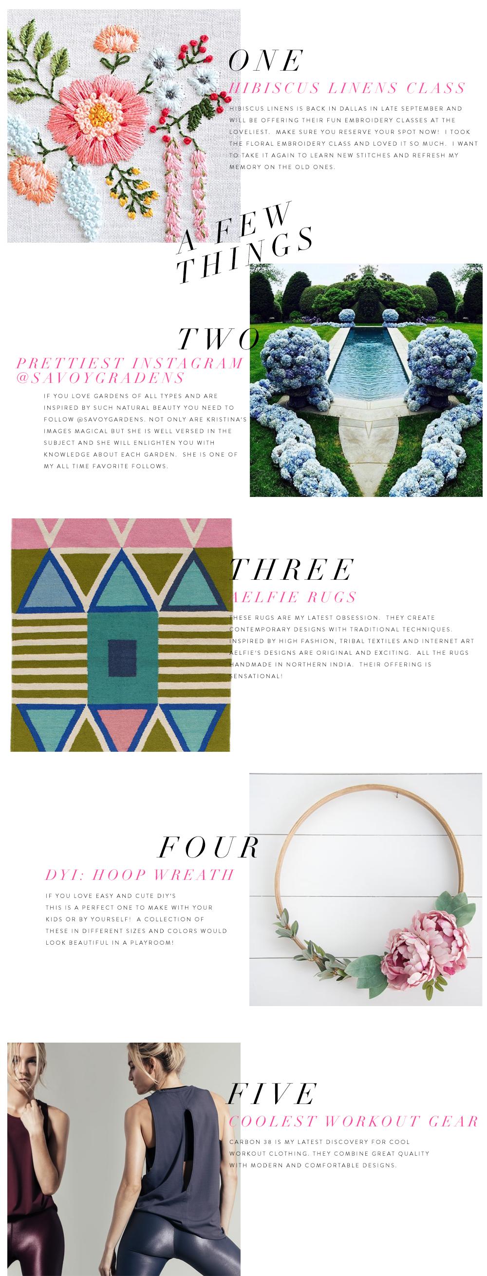 Mimosa Lane blog, hibisucs linens, savoy gardens, aelfie rugs, carbon 38